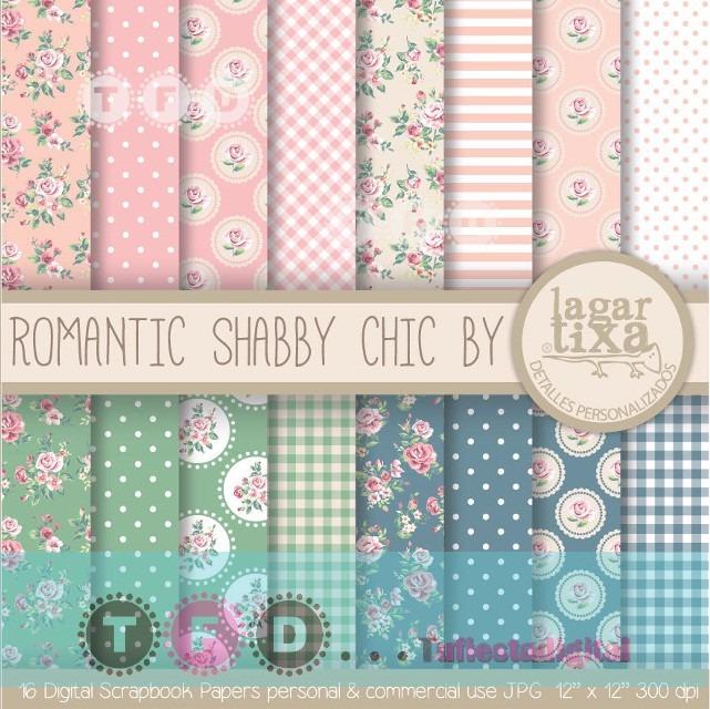 Kit Papel Digital Shabby Vintage Rosa Menta Flores Fondos 17 00