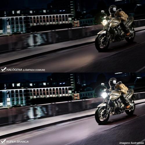kit par 2 lampadas luz super branca moto h4 8500k 55/60w