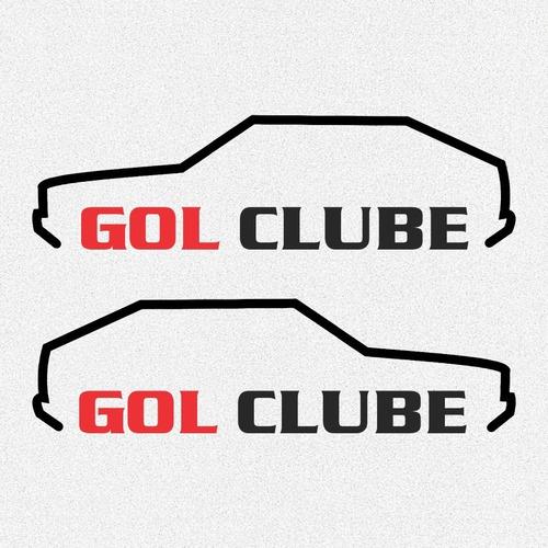 kit par 2x adesivos gol quadrado clube volksvagen 20cm frete grátis  a244