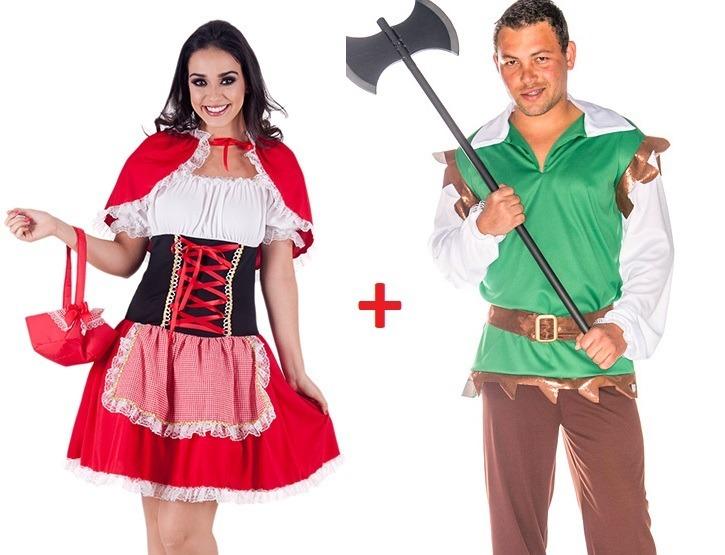 Kit Par Fantasia Casal Chapeuzinho E Caçador Carnaval Adulto R