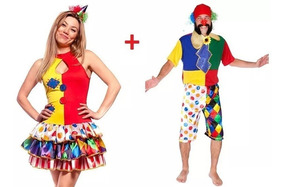 a6aa746b60edff Kit Par Fantasia Casal Palhaços Carnaval Adulto Homem Mulher