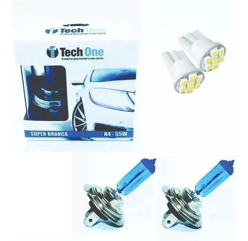 kit par lampada super branca tipo xenon 8500k h4 55w 12v