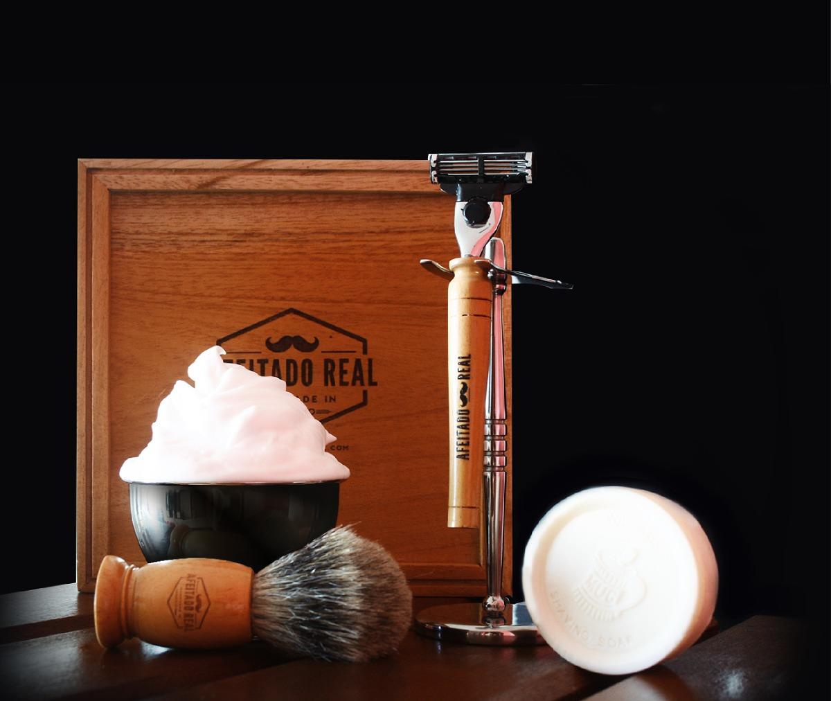 Kit Para Afeitar Brocha Rasurar Rastrillo Base Barbero -   1 ec726ed5f43f