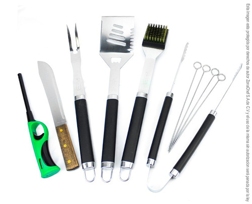 kit para asado 10 utensilios