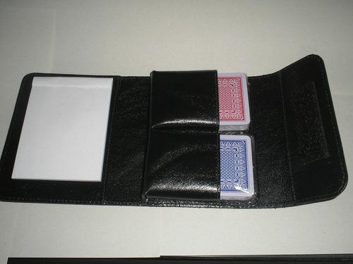 kit para baralhos em couro - cor preta