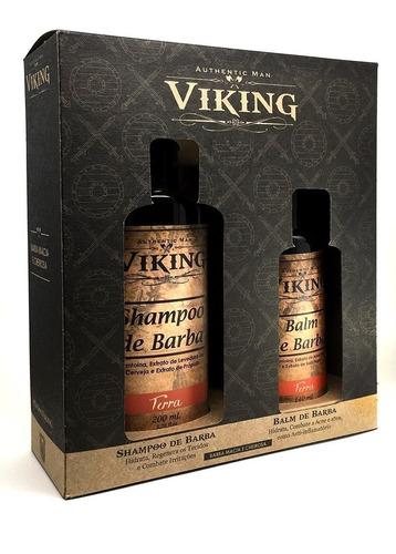 kit para barba com shampoo e balm - terra amadeirado viking