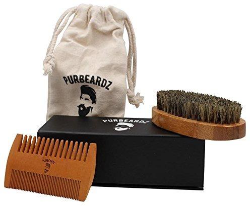 kit para barba purbeardz, cepillo, peine + incluye bolsa.