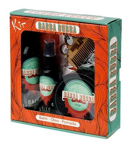 kit para barba rubra, balm + óleo + pomada modeladora, pente