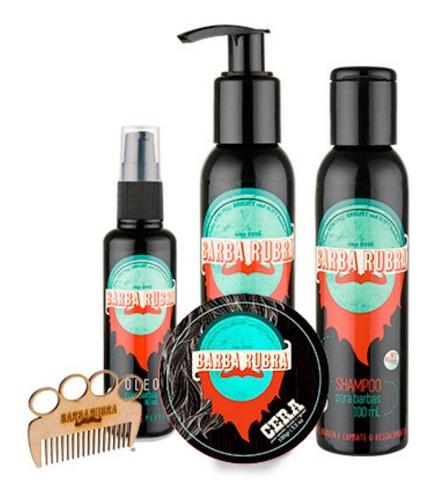 kit para barba rubra óleo + shampoo + balm + cera e pente