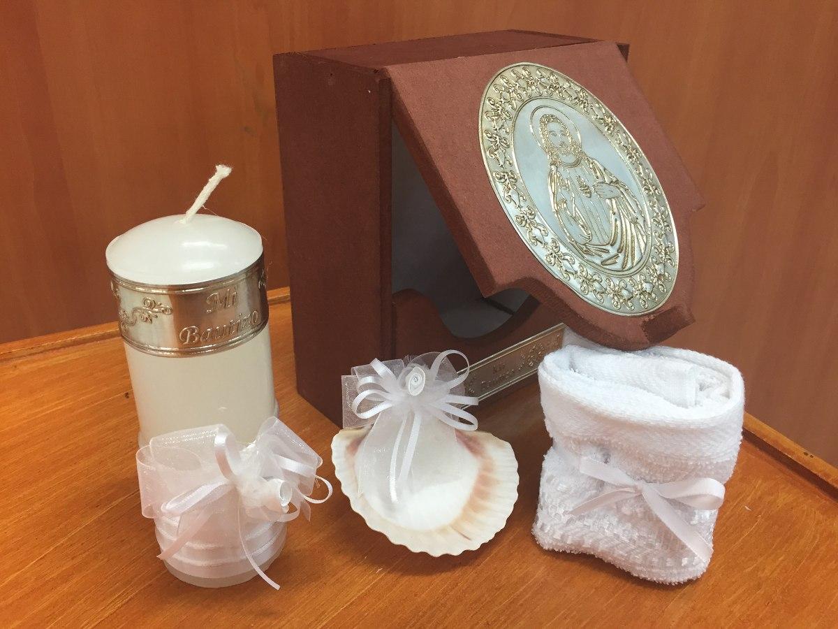 Kit para bautizo caja vela toalla y concha for Decoracion de velas para bautizo