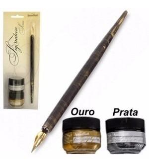 kit para caligrafia speedball pena e tinta ouro prata 94160