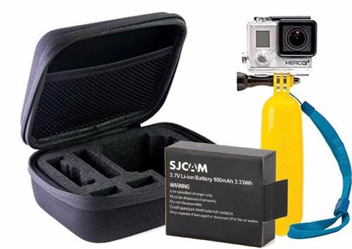 kit para cámaras de acción sjcam estuche + flotador+ bateria