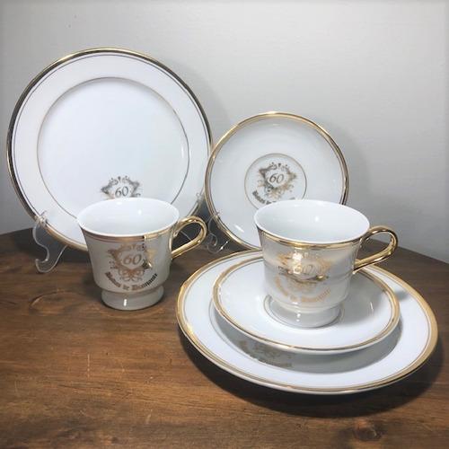 kit para chá 6 peças bodas 60 anos