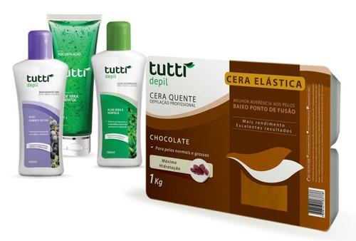 kit para depilação cera elastica 1kg +óleo +adstringente+gel