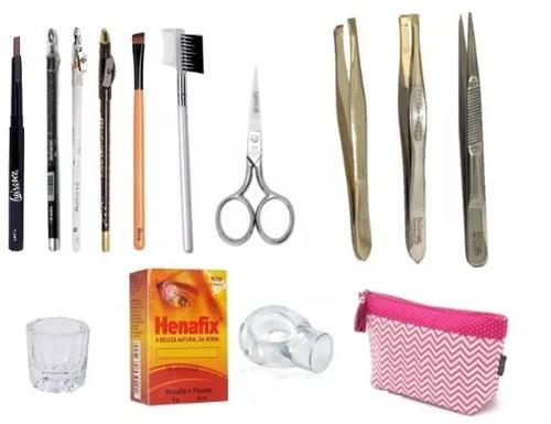 kit para design de sobrancelhas profissional com henna