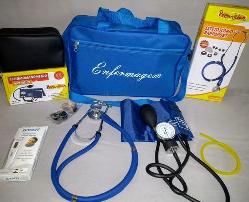 kit para enfermagem azul premium com esfigmo e esteto duplo