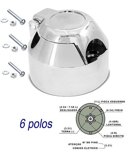 kit para engate reboque bola aço capa aço inox tomada cromad