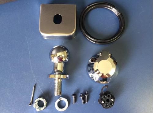 kit para engate reboque bola capa aço inox tomada cromada
