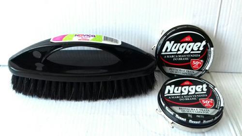 kit para engraxar sapatos com 1 escova + 2 nugget preto 36g