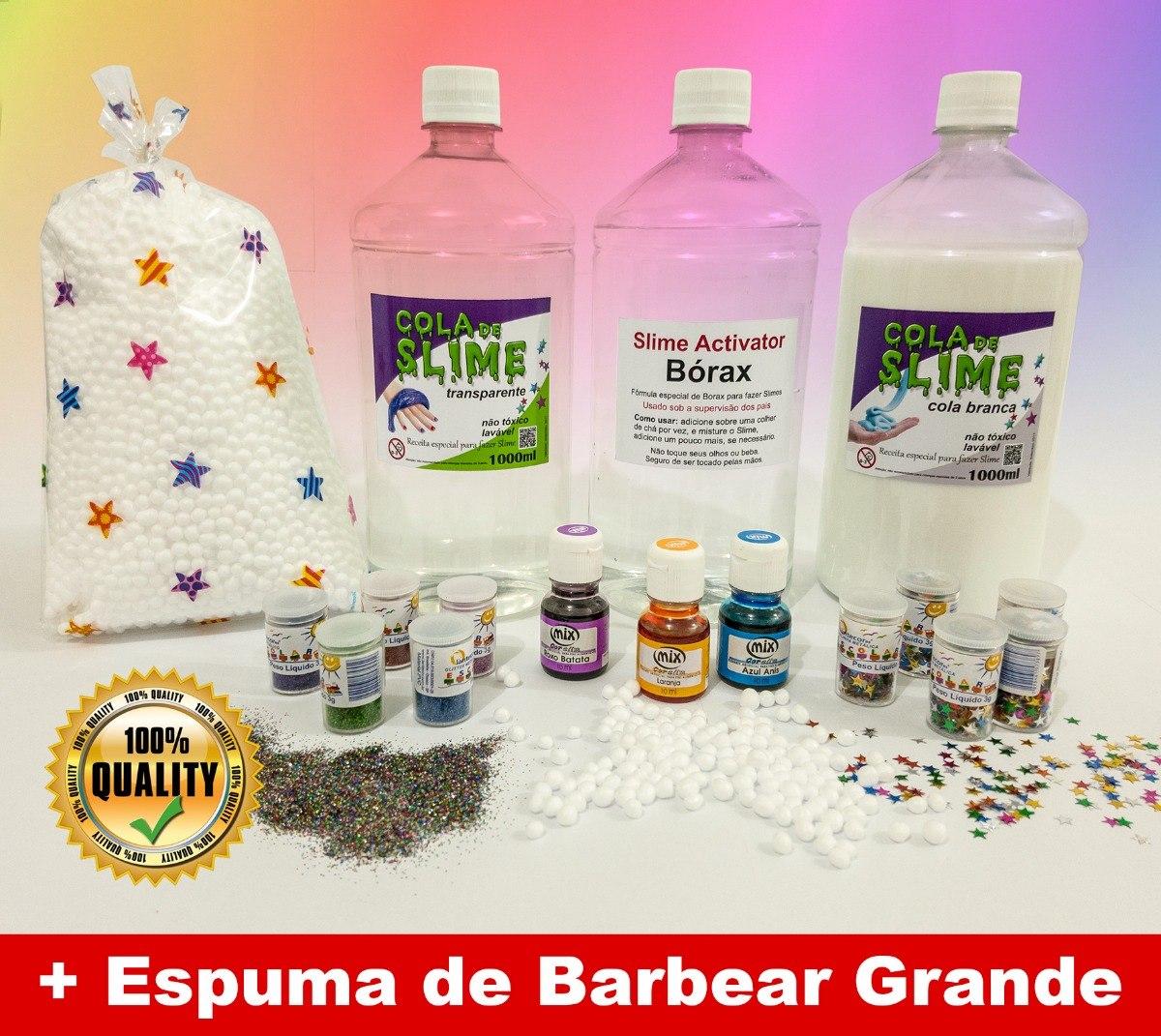 8b35c78504 Kit Para Fazer Slime + Espuma De Barbear, Neve, Corantes Etc - R$ 99 ...