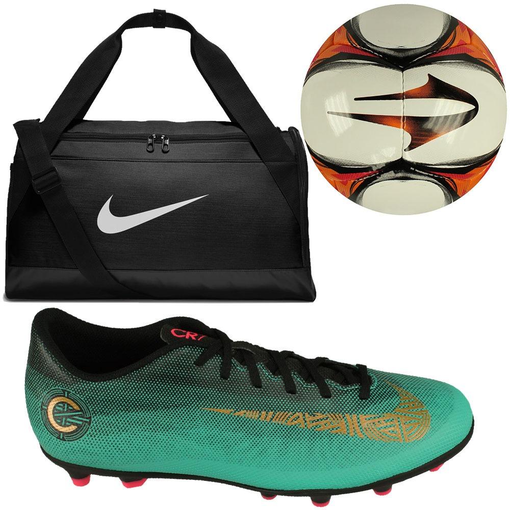 5fe7ac3be7 Kit Para Futebol Campo Chuteira Nike Cr7+ Bolsa+ Bola Topper - R ...