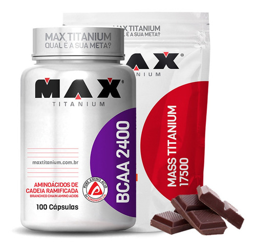 kit para ganhar peso bcaa 100 caps + mass 3kg max titanium