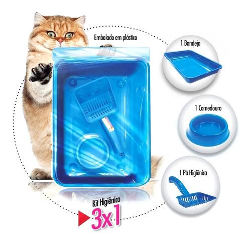 kit para gatos 3 pçs - bandeja, pá higiênica e comedouro