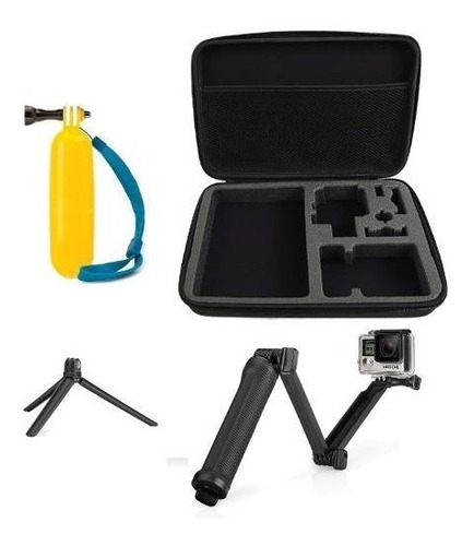 kit para gopro hero 5 6 7 bastão 3 way flutuante maleta g