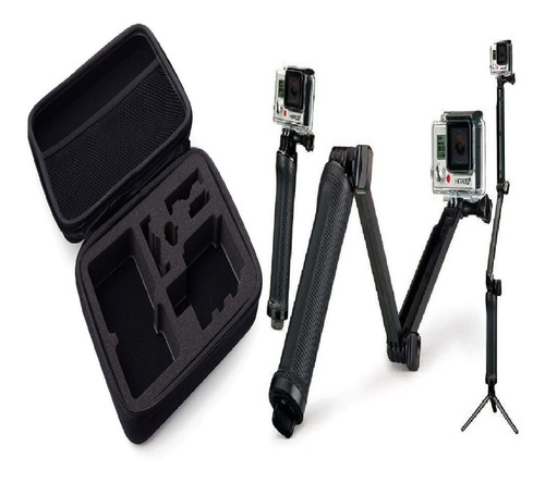 kit para gopro hero estojo maleta com bastão 3 way go pro