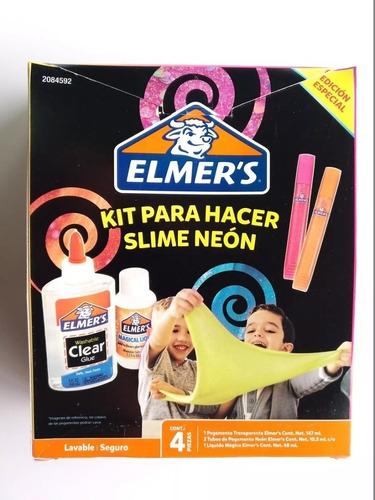 kit para hacer slime neon / aqua elmer´s