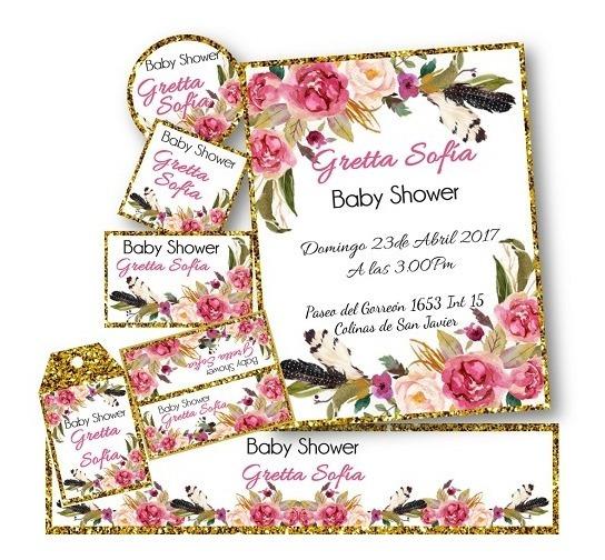 Kit Para Imprimir Baby Shower Flores Invitaciones Etiquetas