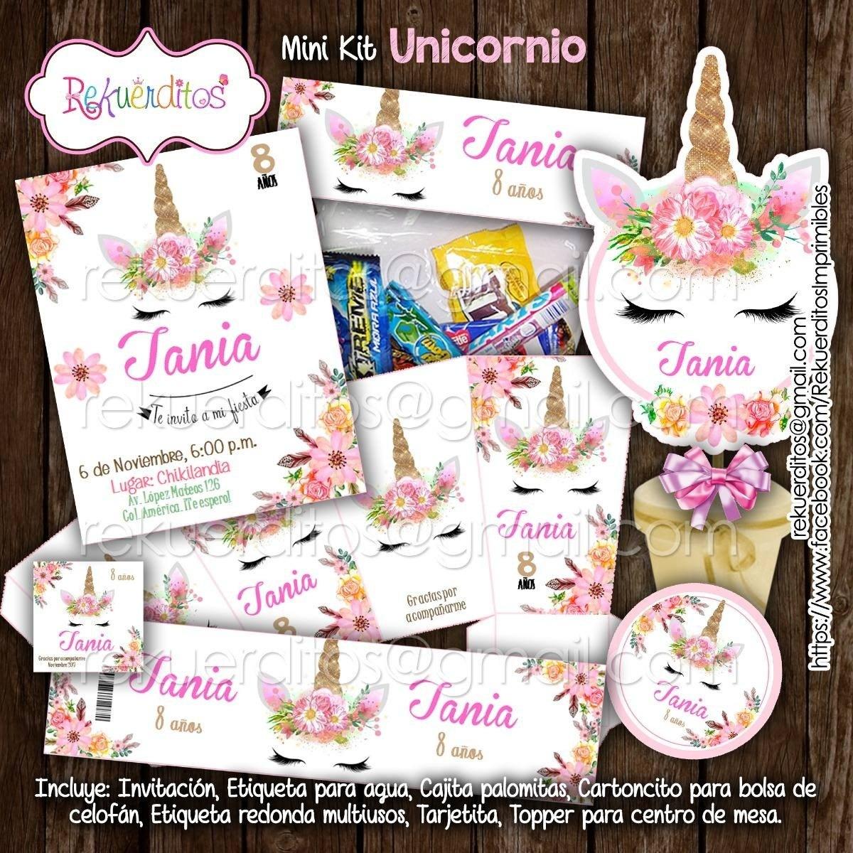 Kit Para Imprimir Unicornio Flores Invitaciones Etiquetas