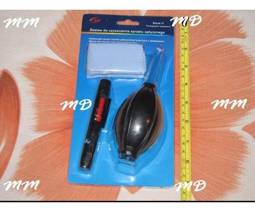 kit para limpeza de cameras foto pano + caneta + borrifador