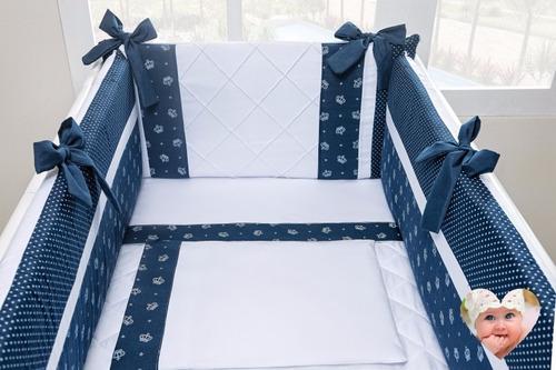 kit para mini berço canaã menino azul marinho  7pçs 58cm38cm