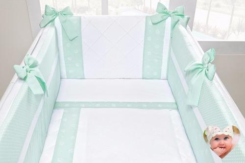 kit para mini berço canaã menino verde água7pç 58cm,larg