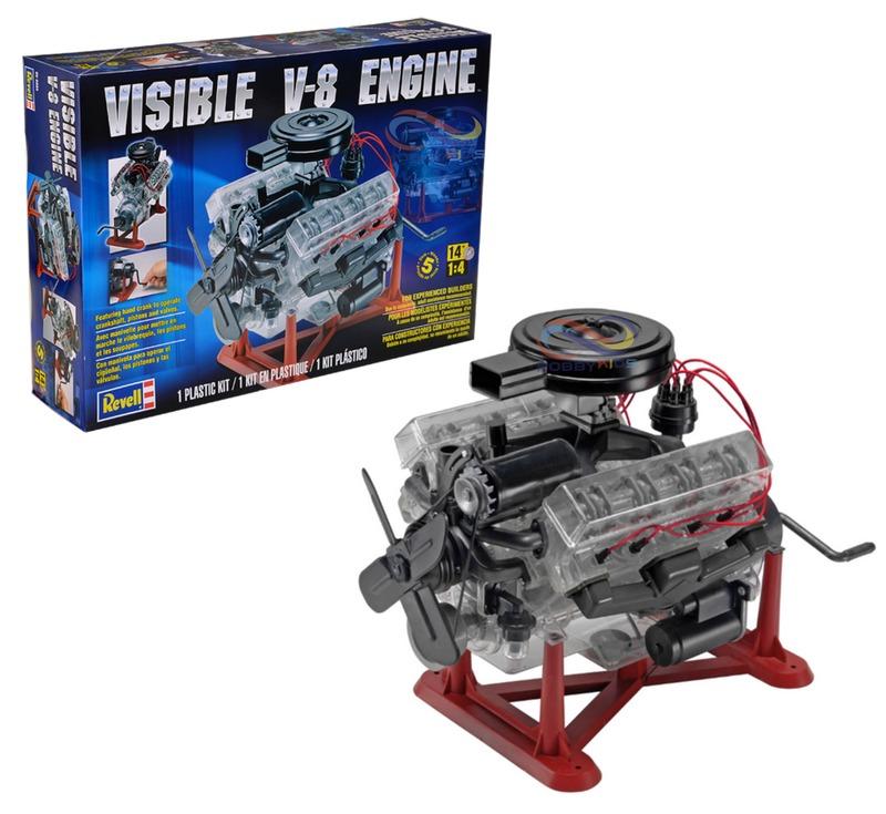 V8 Engine Kit: Kit Para Montar Visible Engine V8 Miniatura Motor 1/4