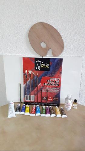 kit para pintar al oleo (con block de tela de algodon)