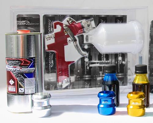 kit para pintura cromo c/ revólver + tinta cromada + candys