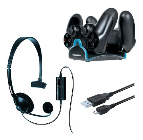 kit para ps4 dual dock + auriculares + cable usb dreamgear