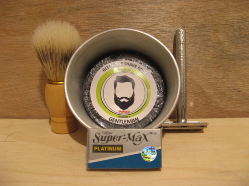 kit para rasurar / brocha barbero, navaja rasurar