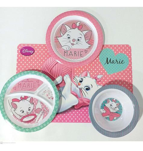 kit para refeição infantil melamina 4 peças gata marie gedex