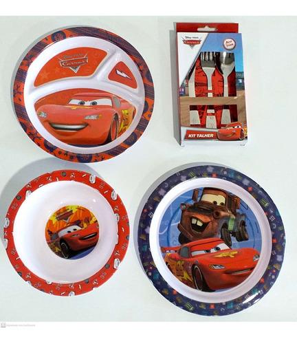 kit para refeição infantil melamina 5 peças mcqueen carros