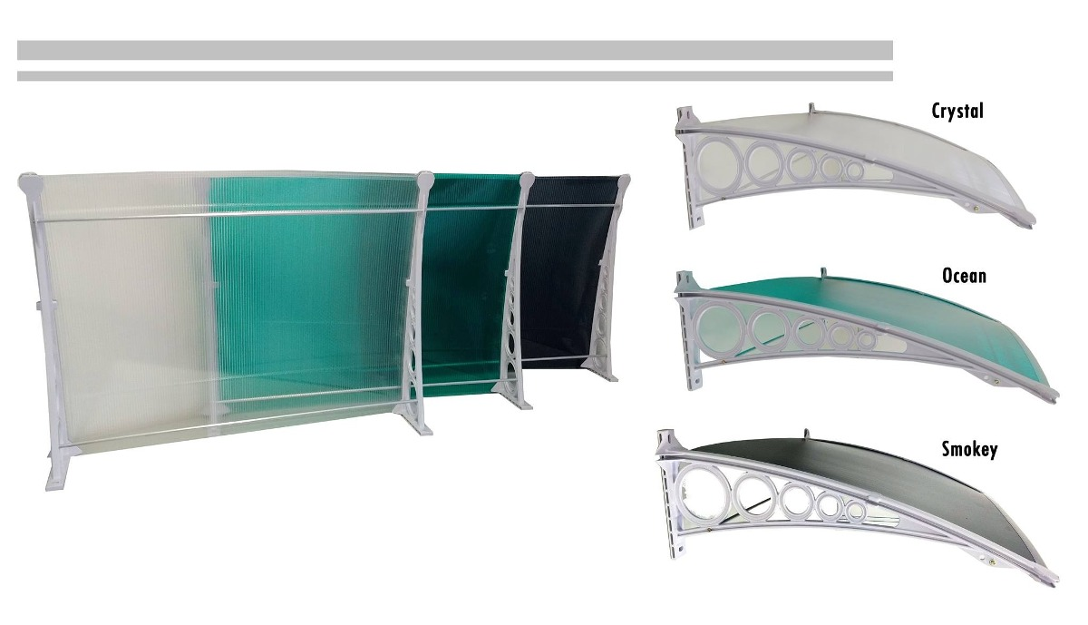 kit para toldo em policarbonato 6mm 2 5metro x0 70