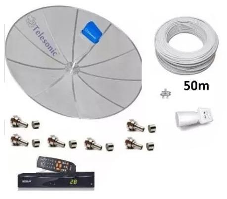 kit parabólica multiponto p/ duas televisões com 1 receptor