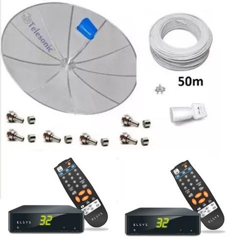 kit parabólica multiponto p/ duas televisões com 2receptores