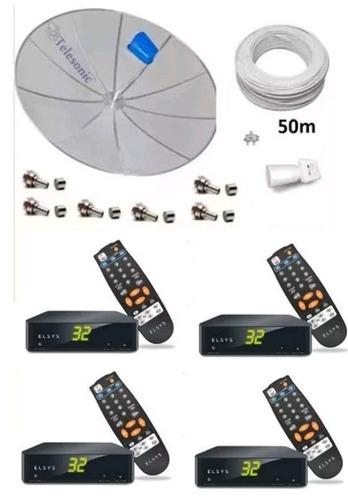 kit parabólica multiponto p/ duas televisões com 4receptores
