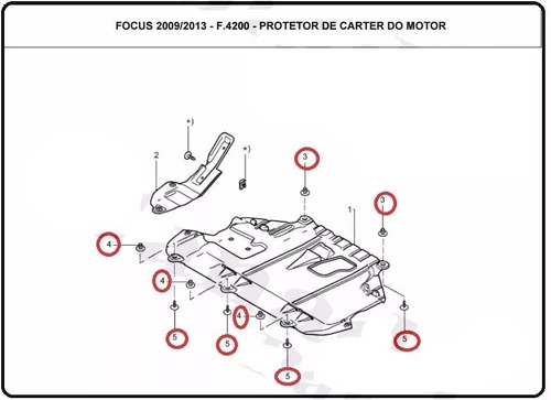 kit parafusos buchas protetor de carter ford focus 08-13
