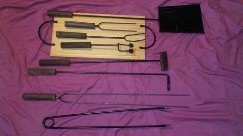 kit parrillero tabla asado picadas madera accesorios asador