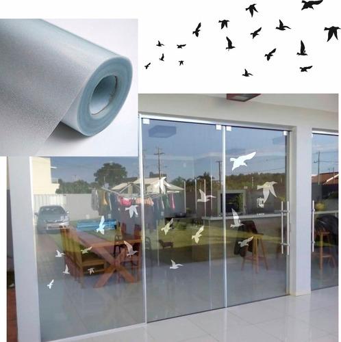 kit pássaros adesivo jateado porta - 120cm de largura