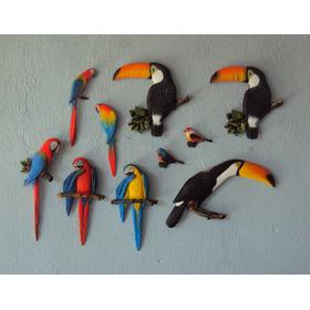 Kit Pássaros De Parede Coloridos (10 Peças).